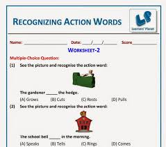 english recognizing action words worksheet printables for grade 2