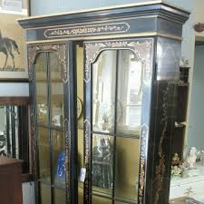 Lighted Display Cabinet Chinoiserie China Cabinet Black Lacquer China Cabinet Painted