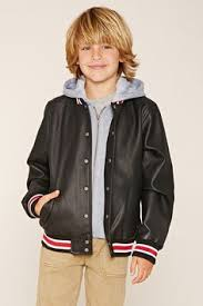 Boys Leather Bomber Jacket Forever 21 Boys A Cotton Blend Fleece Knit Sweatshirt Featuring