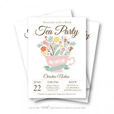 bridal tea party invitation bridal shower tea party invitation customized printable tea cup