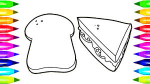 Sandwich And Bread Coloring Pages Learn Colors For Kids With Bread Coloring Page