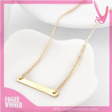 Gold Name Plate Necklace Titanium Plain Bar Wholesale Engravable Pendant Silver Gold