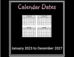 calendar dates jan 2023 to dec 2027 by artsy crafter tpt