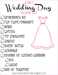 things to register for wedding list s wedding day packing list a on a budget