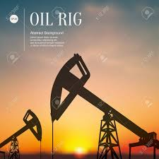 oil rigs extract oil at sunset sketch stylized background royalty