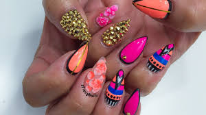 pink u0026 coral abstract design acrylic nails youtube