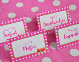 girls baby shower food label buffet cards or placecards pink