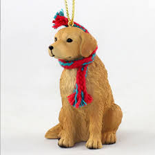 golden retriever ornament scarf figurine