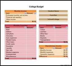 free download college budget template sample template update234