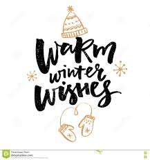 warm winter wishes text greeting card with brush calligraphy and