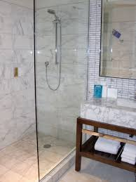 Floating Glass Shelves For Bathroom by Brown Ceramic Wall Panel And Shower Oom With White Shelf Cabinet
