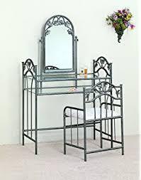 Glass Vanity Table With Mirror Amazon Com Black Metal Bedroom Vanity With Glass Table U0026 Bench