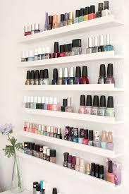 nail polish storage using ikea ribba shelves bathroom ideas