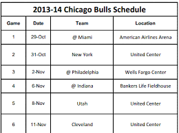 printable bulls schedule chicago bulls printable schedule for 2013 14