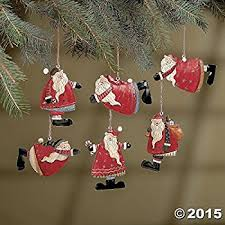 set of 6 painted tin santa folk decoration