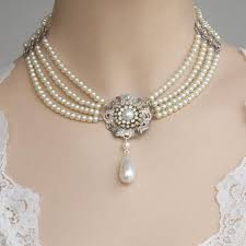 beautiful bridal choker features four strands of small white ivory