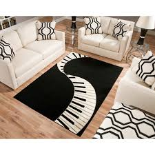 Black White Area Rug Terra Piano Rectangle Area Rug Black White Walmart