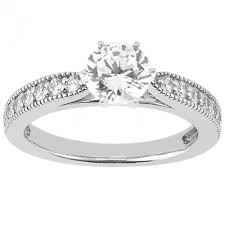 milgrain engagement ring 6 prong cathedral style engagement ring with accent