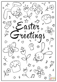 easter greetings doodle coloring page free printable coloring pages