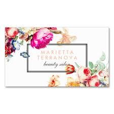 floral business card vintage chic floral striped salon business card