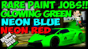 gta 5 online secret car colors glowing green neon red neon