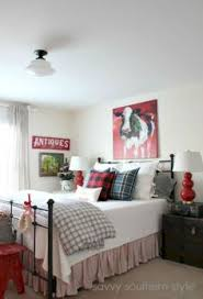 guest room farmhouse style red gray flannel buffalo checks
