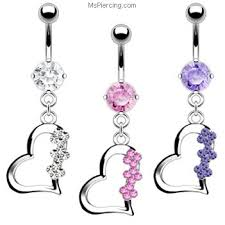 belly rings titanium images Dangling heart with jewels navel ring titanium shaft at jpg