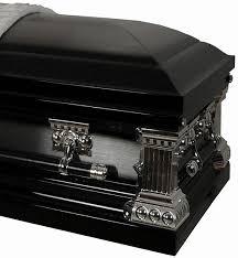 black casket 8285 black with brush 18ga onyx casket white velvet