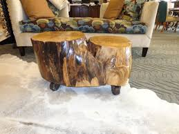 wood stump coffee table with storage