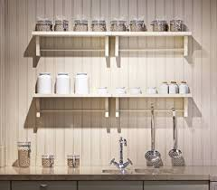 white beadboard wall shelf