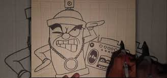 How To Graffiti With Spray Paint - how to draw an animated spray can toting a boom box graffiti