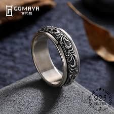 rock silver rings images Gomaya carving flower 925 sterling silver rings gothic vintage jpg