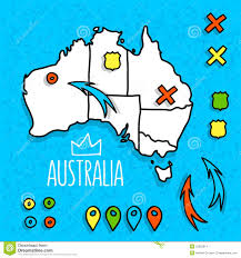 World Map With Pins by Cartoon Style Australia Travel Map With Pins Stock Vector Image