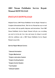 2005 nissan pathfinder service repair manual download