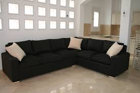 Black Microfiber Sectional Sofa Grey Sofa With Cushions Also Yellow Wall Paint Decoration White