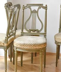 set of four french antique dining lyra chairs mercurius art
