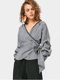 wrap blouses checked faux pearl wrap blouse checked blouses l zaful