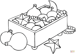 christmas ornaments in a box coloring page free printable