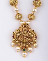Buy Kasu Mala Lakshmi Ji Gold Pearl Mala With Lakshmi Pendant Pearl Jewellery Designs