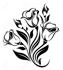 black silhouette of flowers ornament vector illustration royalty