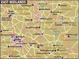 midland map map of east midlands