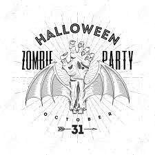 halloween line art zombie rotten hand with bat wings halloween line art vector
