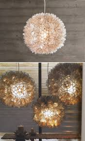 Flower Pendant Light Decorative Warm White Capiz Shell Hanging Pendant Light Chandelier