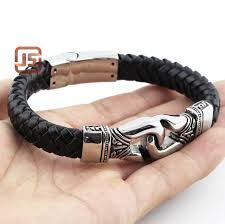 leather stainless steel bracelet images 2016 new fashion fine jewelry men design genuine leather stainless jpg