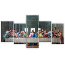 5 panels famous hd print canvas painting the last supper leonardo da vinci wall pictures for living room kitchen room in painting calligraphy from home