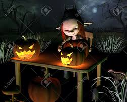 spookyt halloween background little goblin carving spooky halloween pumpkin lanterns with