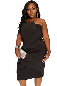 black pleated strapless cocktail plus size party dress
