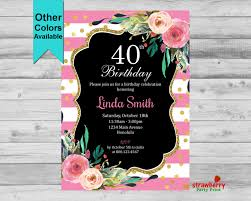 40th birthday invitation for women pink floral invite elegant