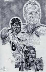 peyton manning of denver broncos drawing sketch poster art ebay
