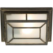 rustic black gold garden wall or porch light with frosted glass